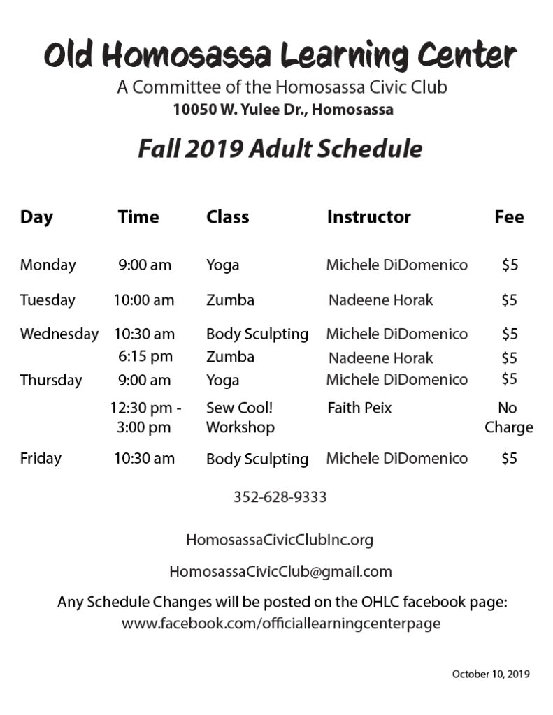 Fall schedule at Old HOmosassa Learning center